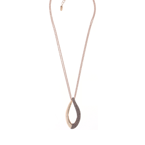 Closeup photo of Split Twist Polvere Pendant Necklace Rose Gold Antelope Polvere