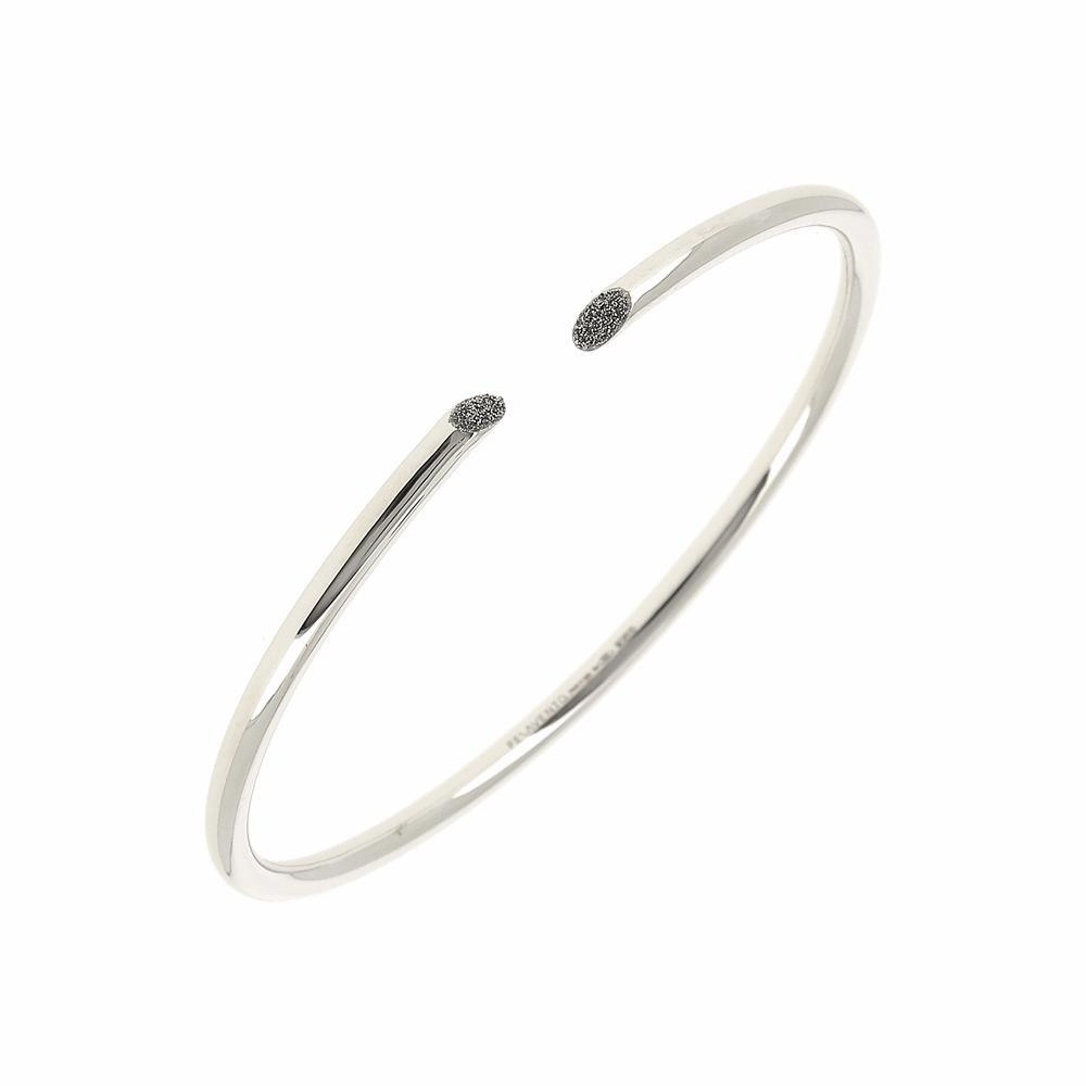 Thin Diamanti Bangle Bracelet 18k White Gold Storm Grey Diamond Dust