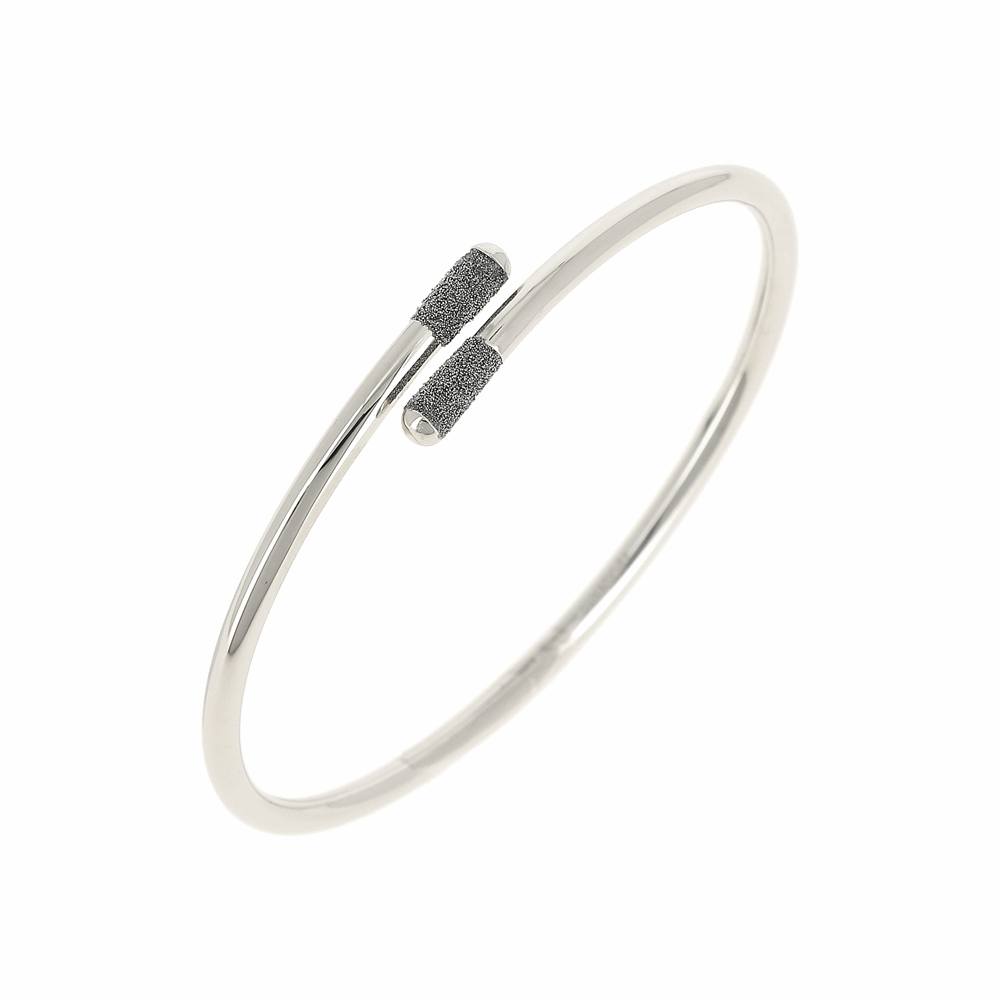 Crossover Diamanti Bangle Bracelet 18k White Gold Storm Grey Diamond Dust