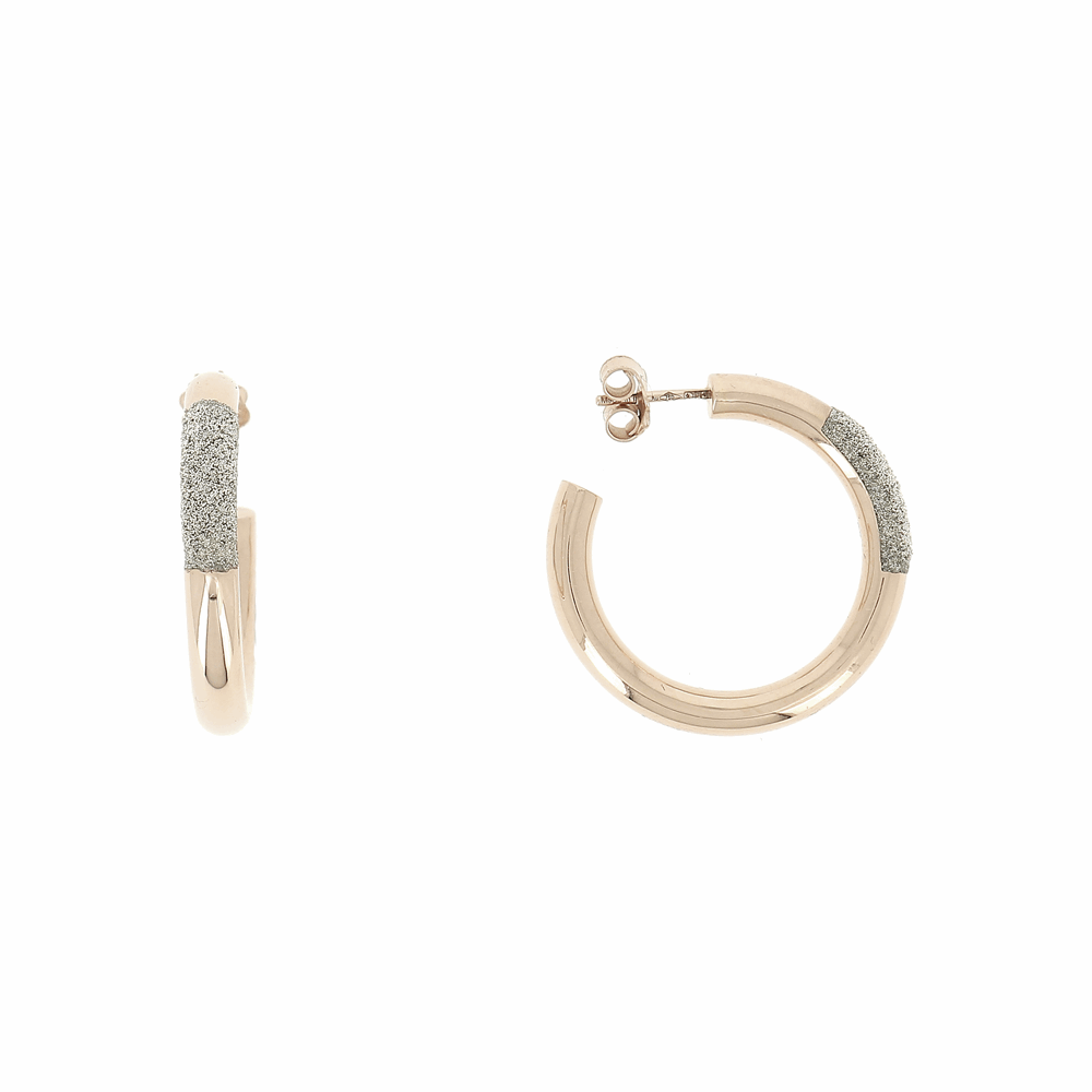 Thick DIamanti Small Hoop Earrings 18k Rose Gold CHampagne Diamond Dust