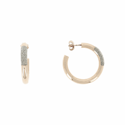 Closeup photo of Thick DIamanti Small Hoop Earrings 18k Rose Gold CHampagne Diamond Dust