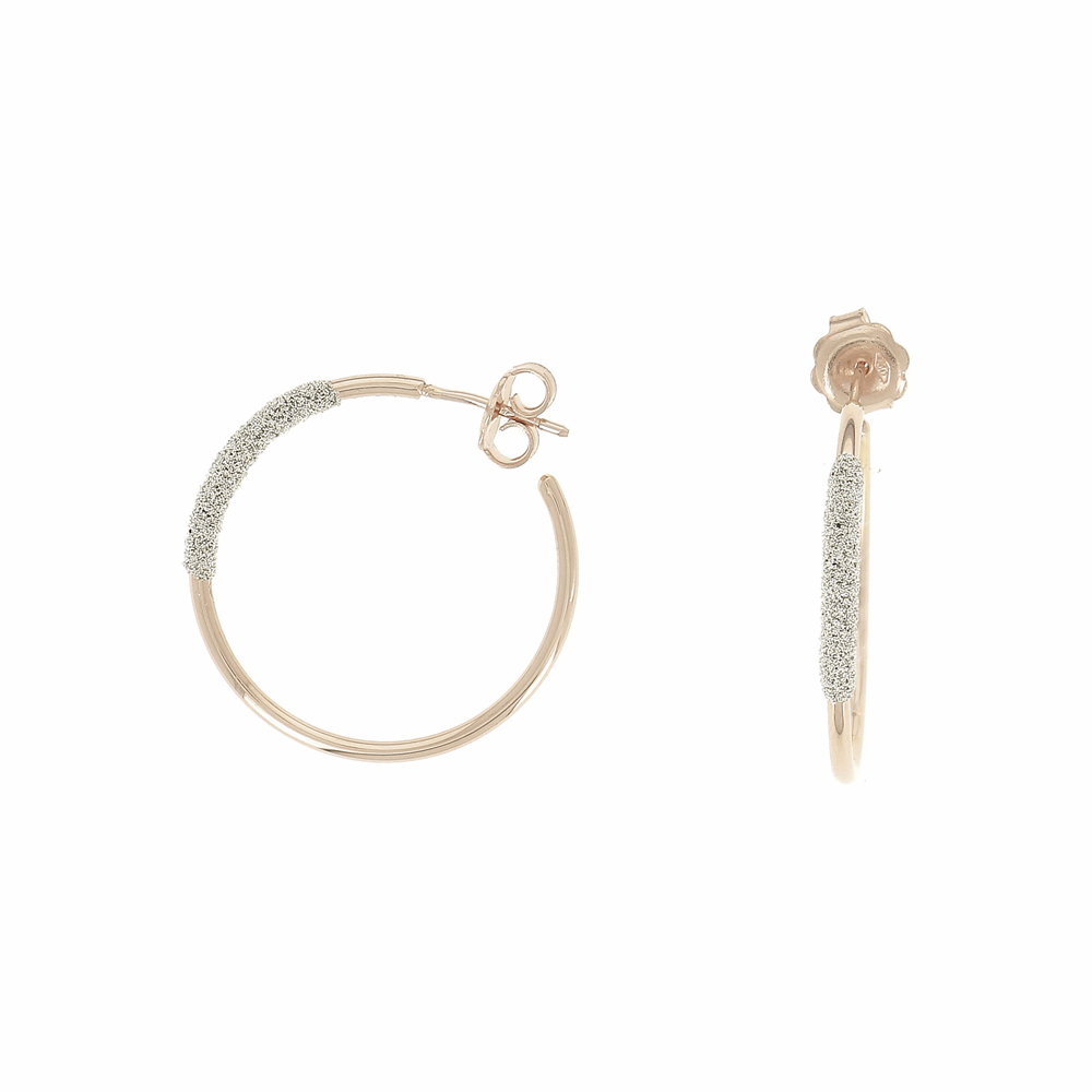 Thin Diamanti Small Hoop Earrings 18k Rose Gold Champagne Diamond Dust