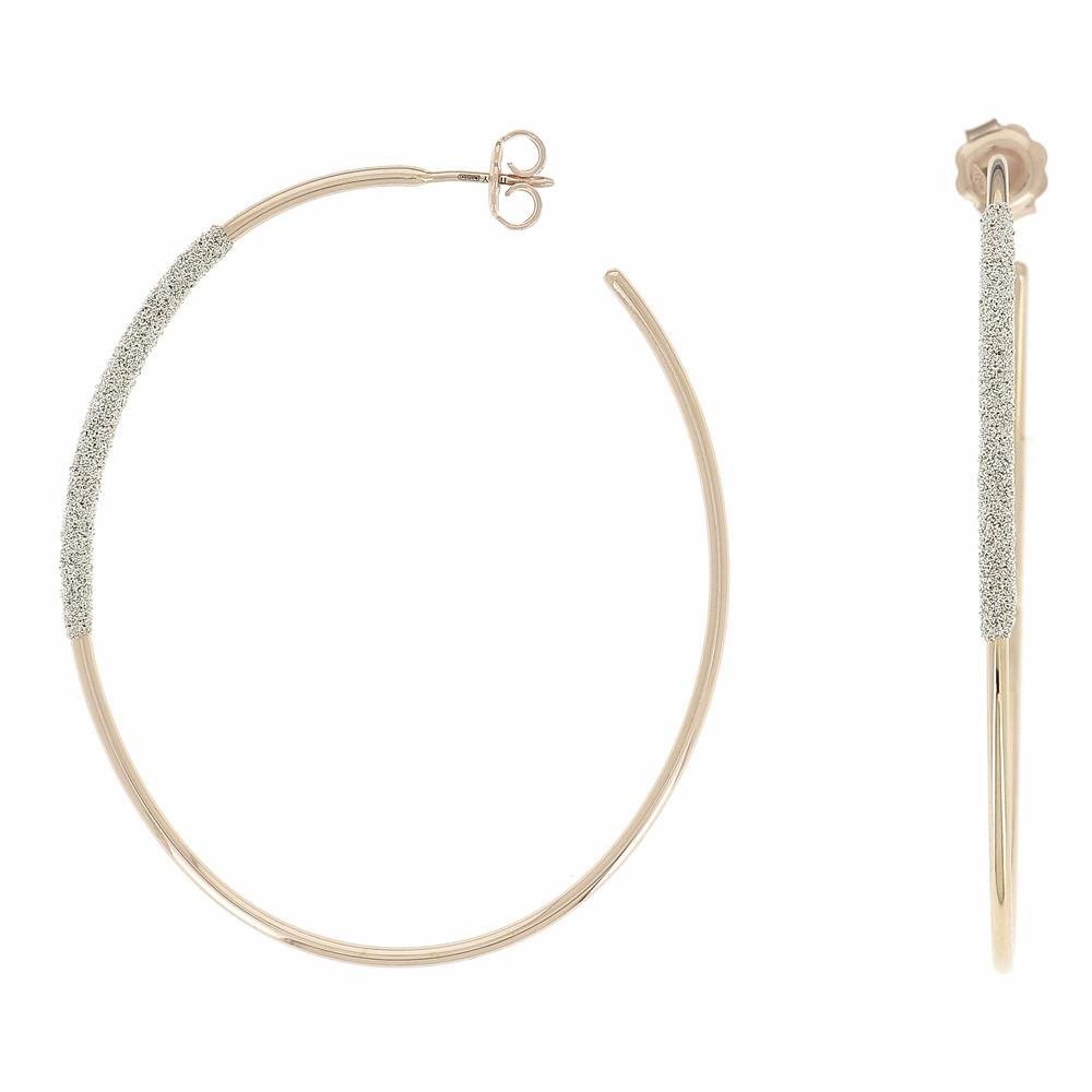 Thin Diamanti Large Oval Earrings 18k Rose Gold Champagne Diamond Dust