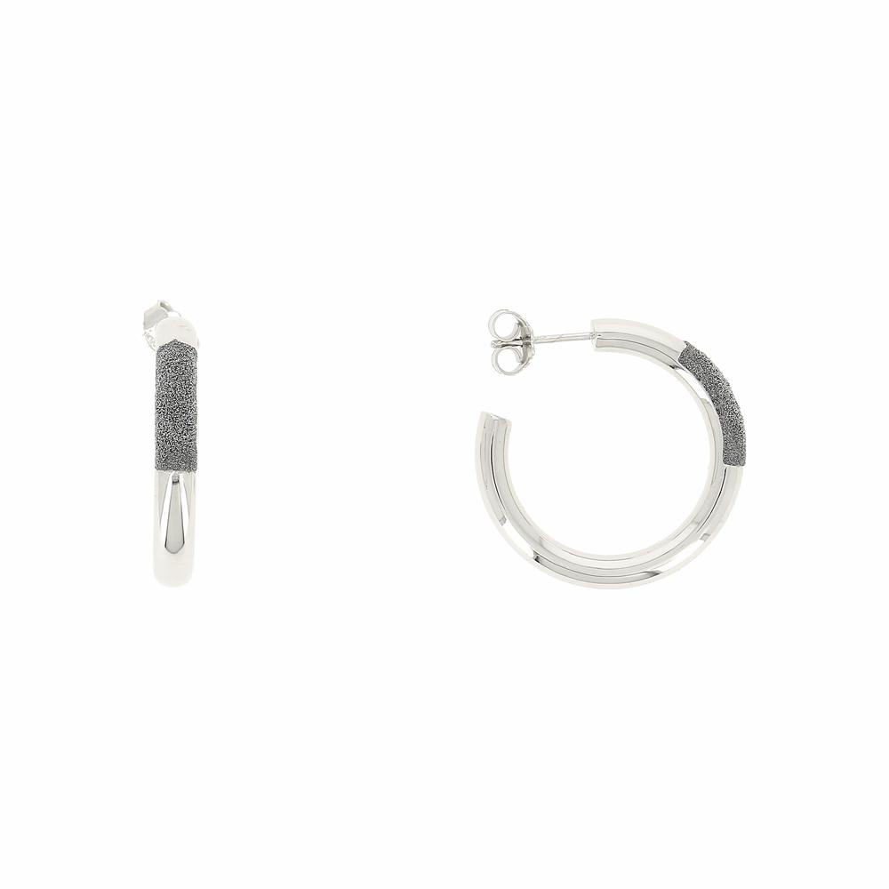 Thick Diamanti Small Hoop Earrings 18k White Gold Storm Grey Diamond Dust