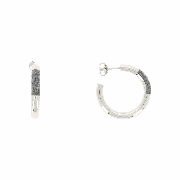 Closeup photo of Thick Diamanti Small Hoop Earrings 18k White Gold Storm Grey Diamond Dust