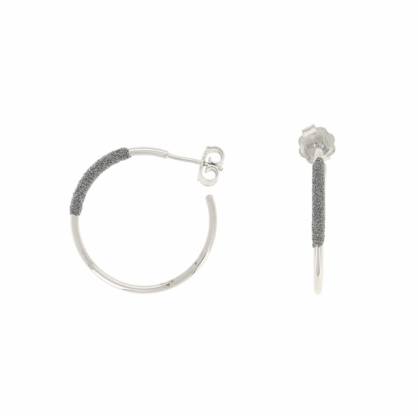 Closeup photo of Thin Diamanti Small Hoop Earrings 18k White GOld Storm Grey Diamond Dust