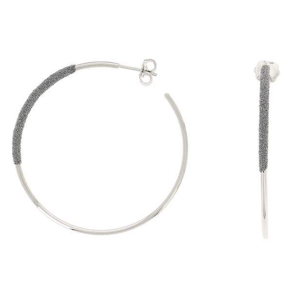 Closeup photo of Thin Diamanti Large Hoop Earrings 18k White Gold Storm Grey Diamond Dust