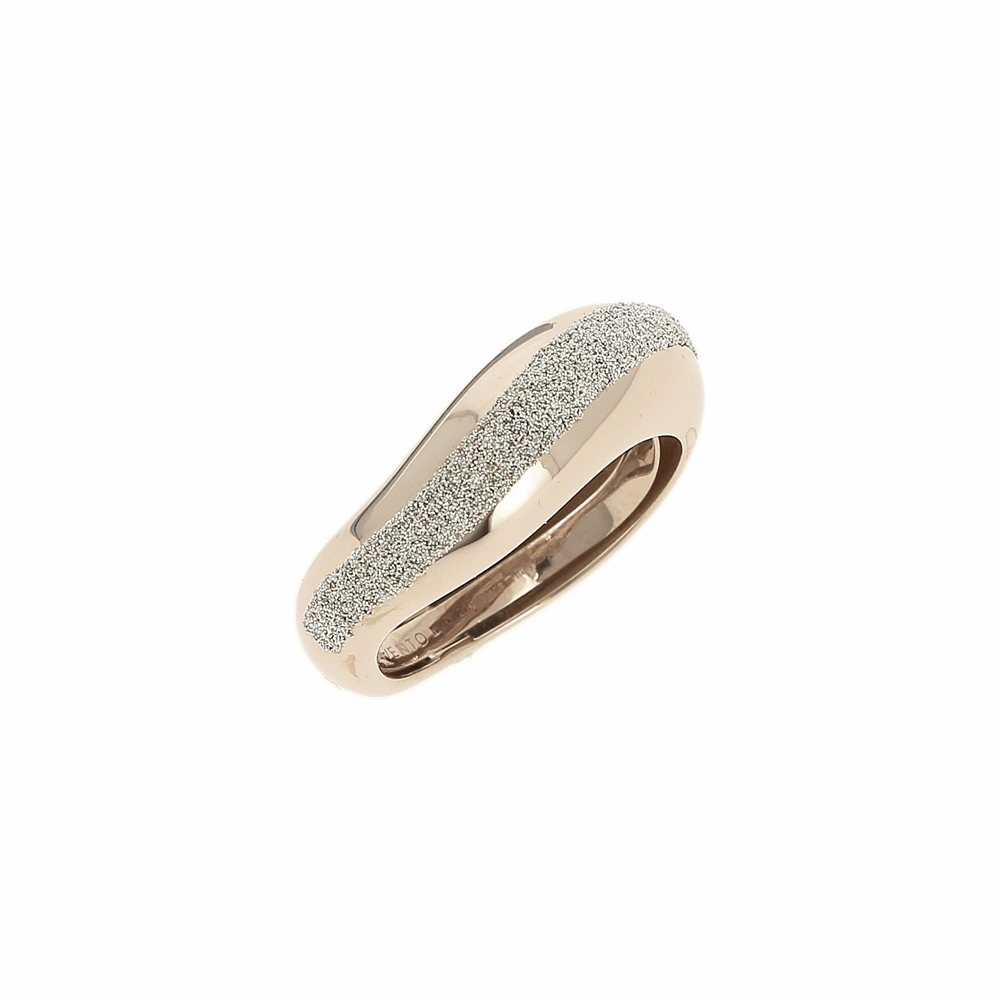 Wide Diamanti Ring 18k Rose Gold Champagne Diamond Dust