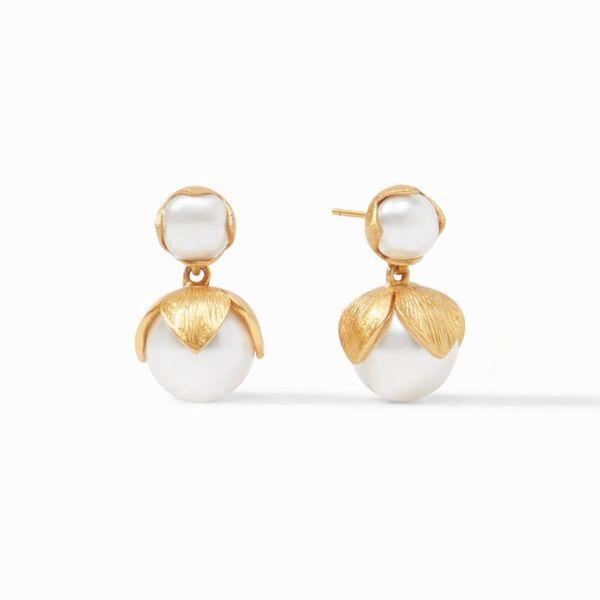 Closeup photo of Penelope Midi Earring Gold Pearl