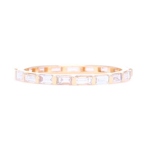 Closeup photo of 14k Yellow Gold Step Cut Diamond Eternity Stack Ring
