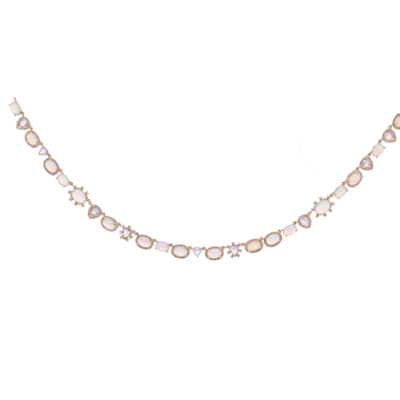 Closeup photo of 14k Yellow Gold Opal and diamond slice collar necklace