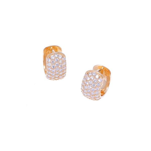 Closeup photo of 14k Small Wide Diamond Huggies