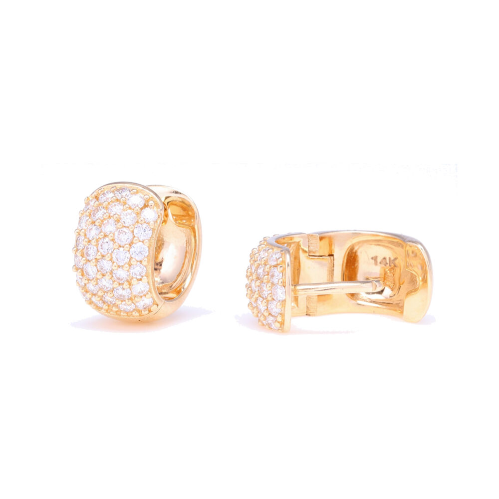 Image 2 for Small Wide Diamond Hoop Earrings
