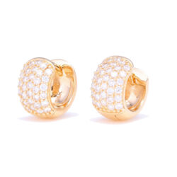 Closeup photo of 14k Yellow Gold Small Wide Diamond Hoop Earrings