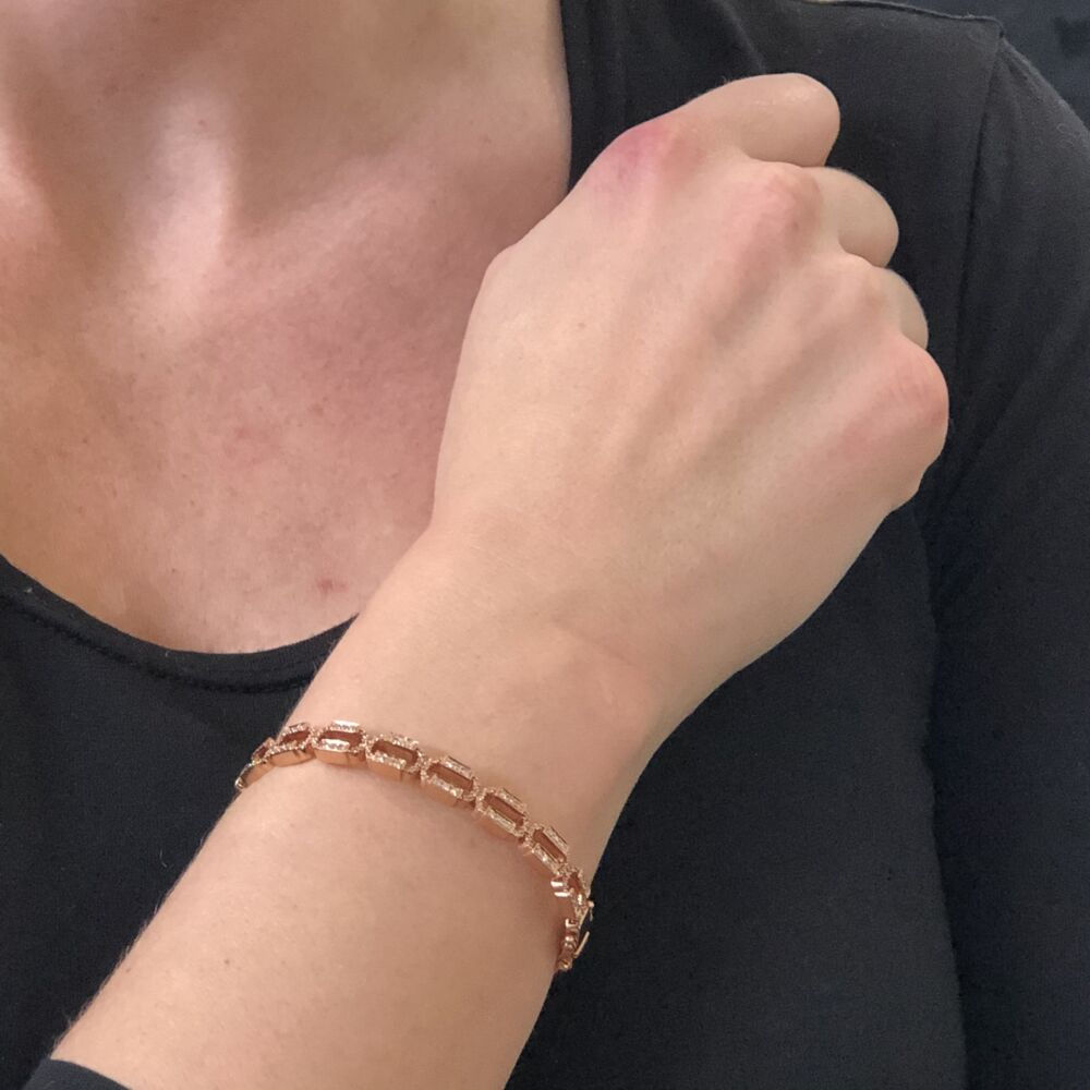 Chain Link Rose Gold Hinged Bracelet
