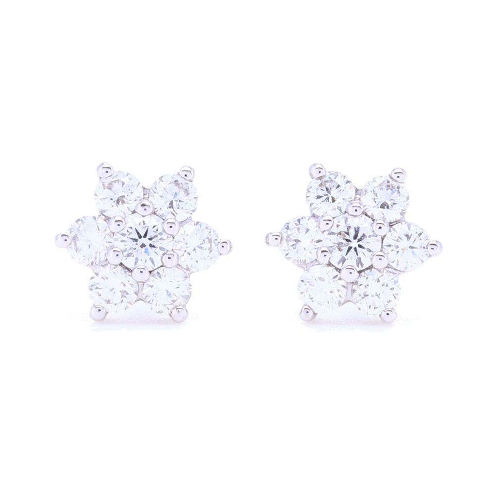 18k White Gold Small Diamond Cluster Studs