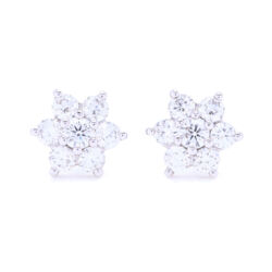 Closeup photo of 18k White Gold Small Diamond Cluster Studs
