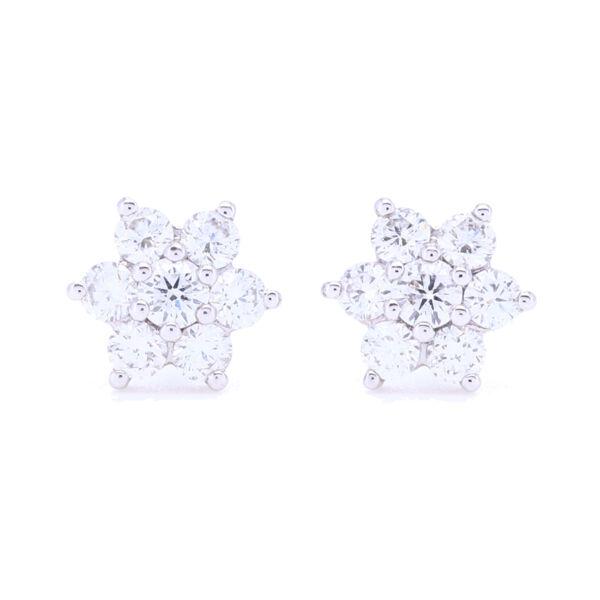 Closeup photo of 18k White Gold Small Diamond Cluster Studs