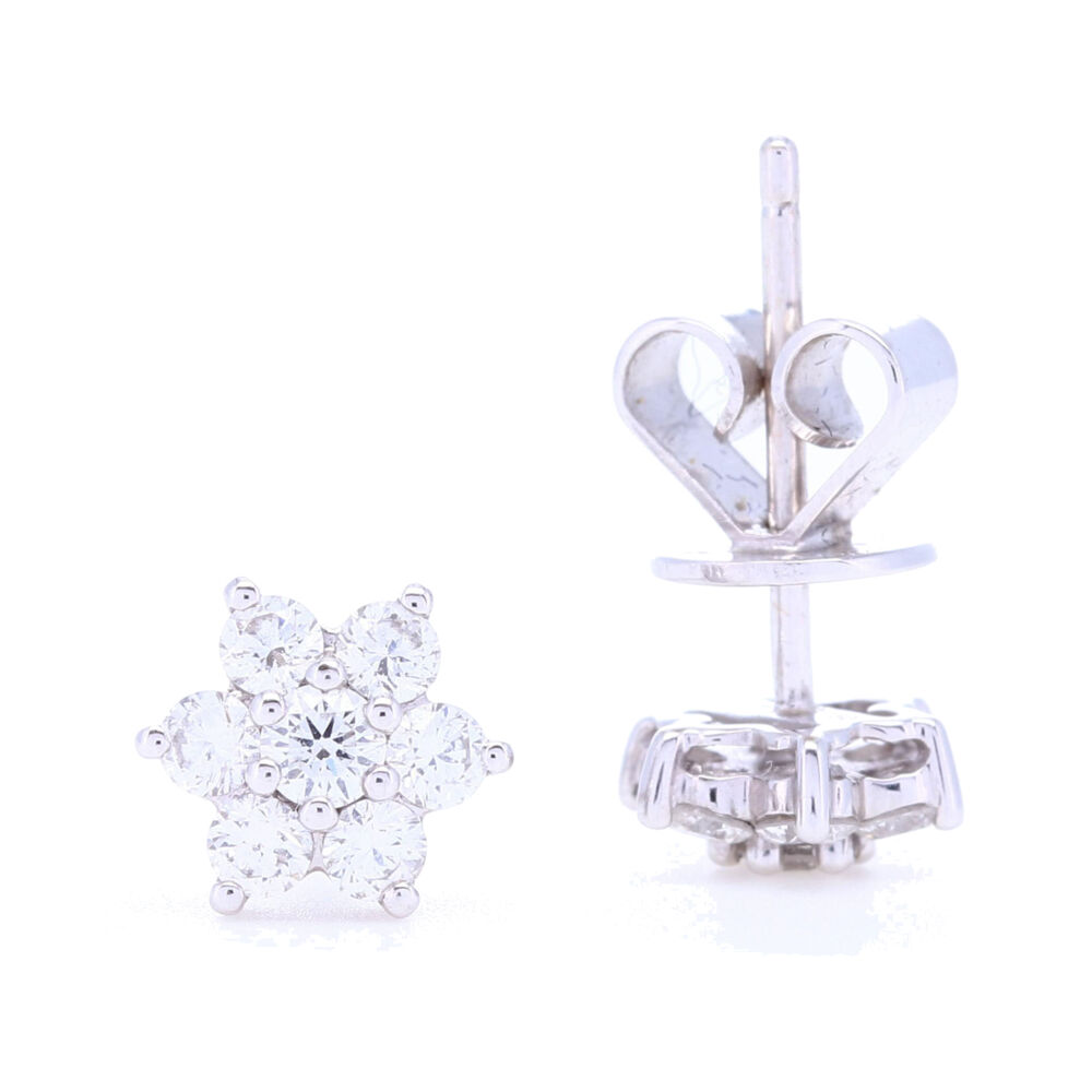 Image 2 for 18k White Gold Small Diamond Cluster Studs