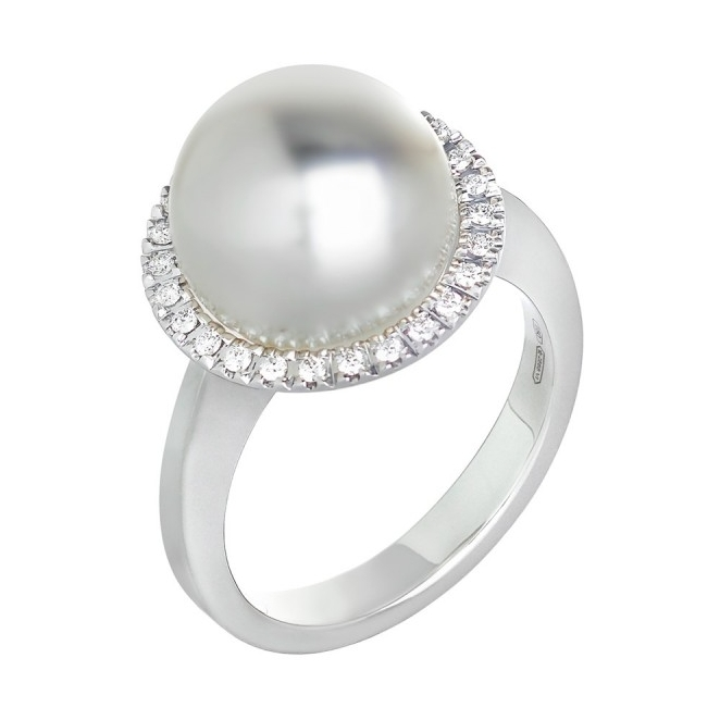 White South Sea Pearl and Diamond Halo Ring