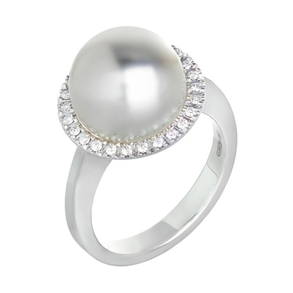 Closeup photo of 18K White Gold White South Sea Pearl and Diamond Halo Ring