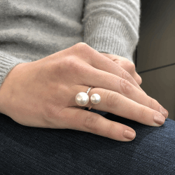 Closeup photo of Double White South Sea Pearl Crossover Ring