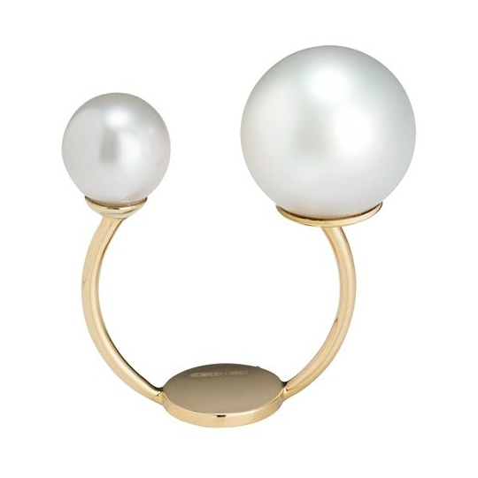 Closeup photo of 18k Yellow Gold Double Pearl Ring with White South Sea Pearls
