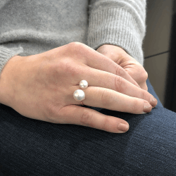 Closeup photo of Double Pearl Ring with White South Sea Pearls