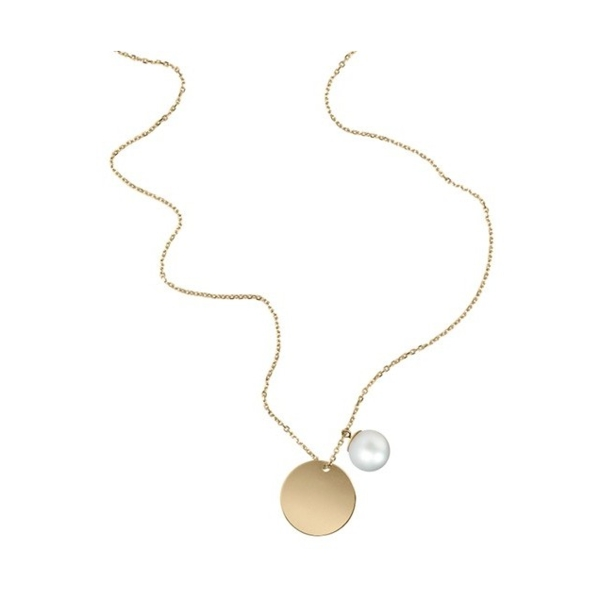 Closeup photo of 18K Yellow Gold White South Sea Pearl and Disk Necklace