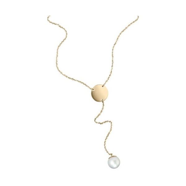 Closeup photo of 18K Yellow Gold White South Sea Pearl Lariat Necklace