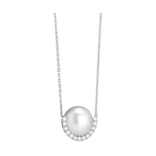 TL Pearl Frame Pendant 18K White Gold White South Sea Pearl 11-12mm -.32 ct Diamonds