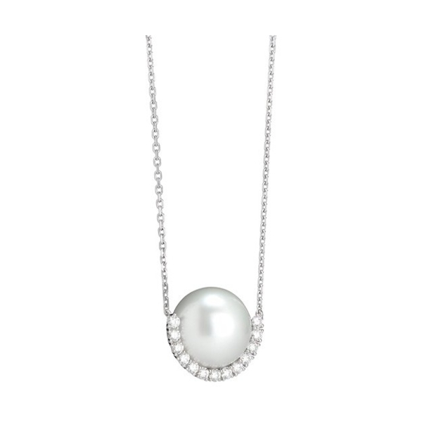 Closeup photo of 18K White Gold White South Sea Pearl Frame Necklace with Diamonds