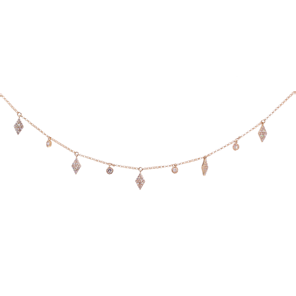 Fringe 14k Yellow gold chain with diamond shaped charms and diamonds