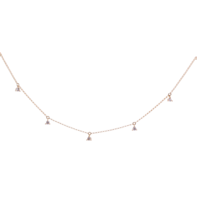 Closeup photo of 14k yellow gold diamond dangle station chain .24ct dia