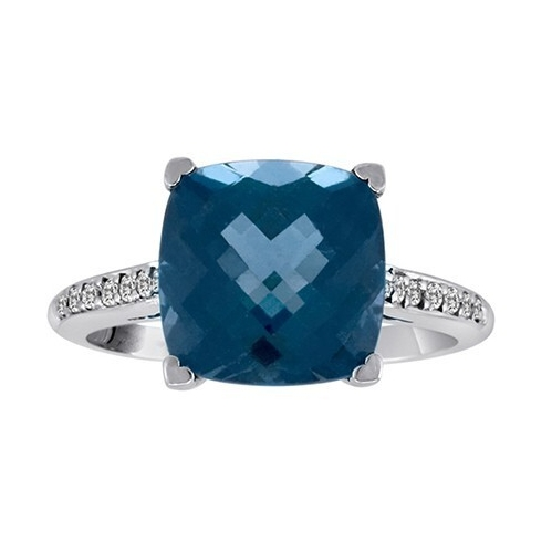 Image 2 for 18k London Blue Topaz Ring with Diamonds