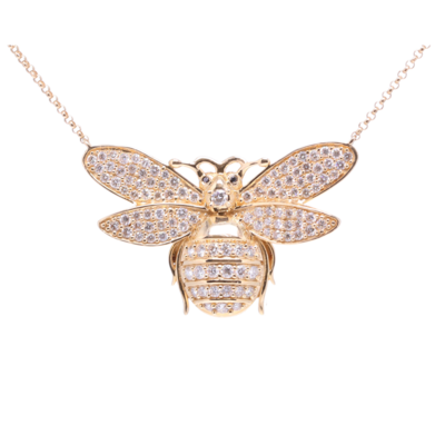 Closeup photo of Yellow Gold Pendant Bee Layering Necklace