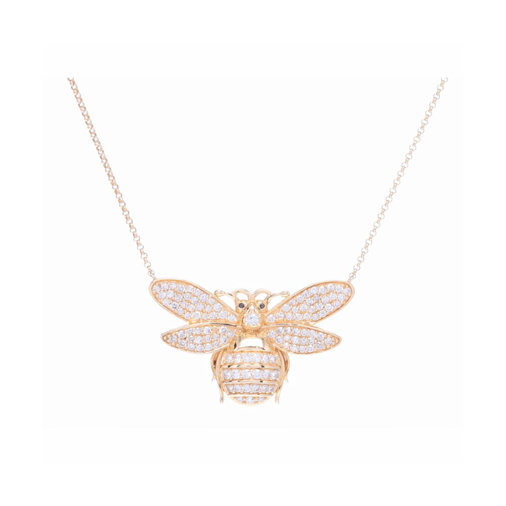 14k Yellow Gold and Diamond Bee Pendant Layering Necklace