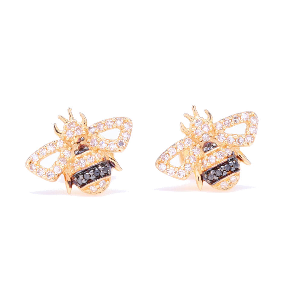 14k Yellow Gold and Black Rhodium Striped Diamond Bee Studs