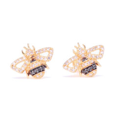 Closeup photo of 14k Yellow Gold and Black Rhodium Striped Diamond Bee Studs