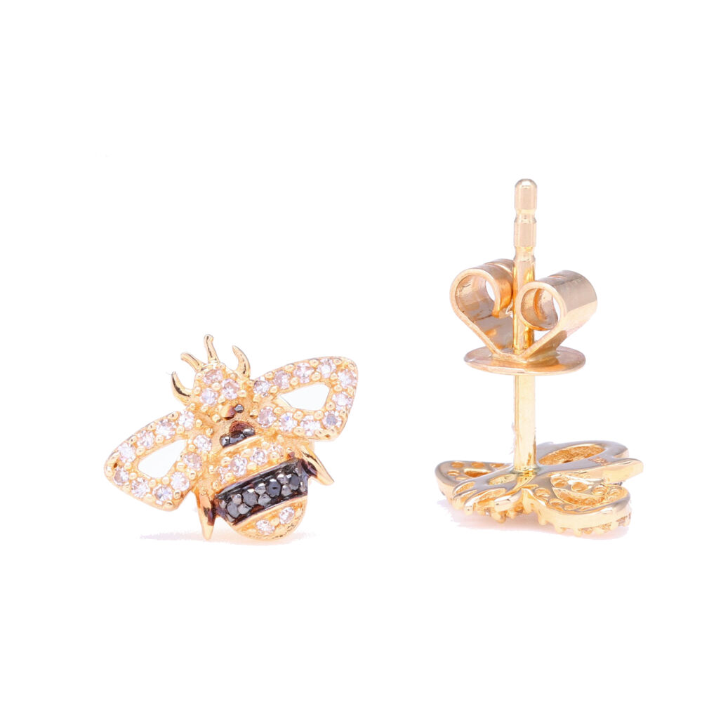 Image 2 for 14k Yellow Gold and Black Rhodium Striped Diamond Bee Studs