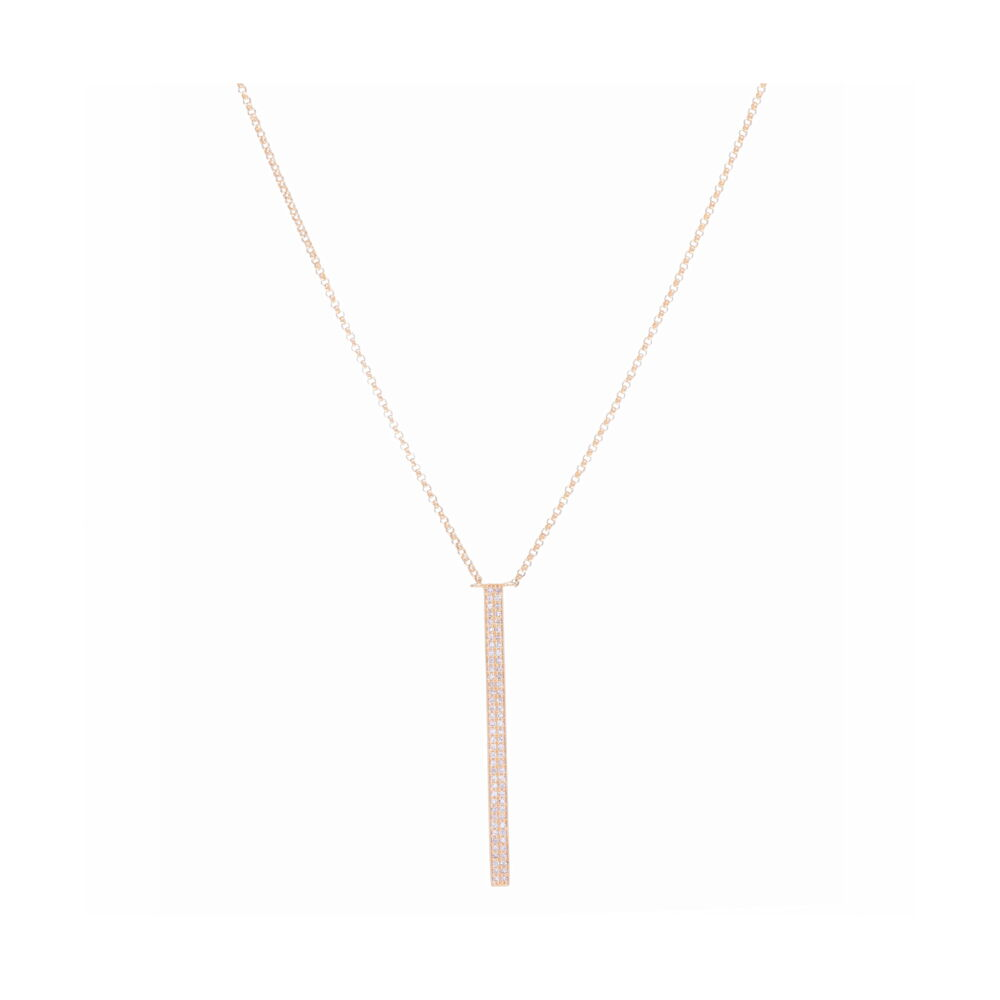 Yellow Gold Vertical Bar Layering Necklace
